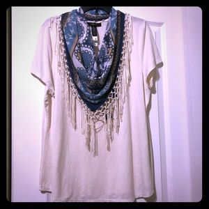 Style & Co Cream Scarf Top